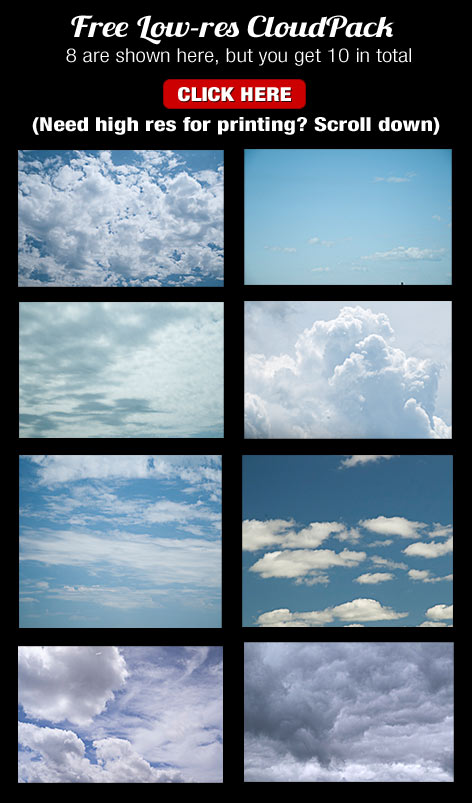 free cloud pack stock photos of clouds for compositing and cloud plopping!